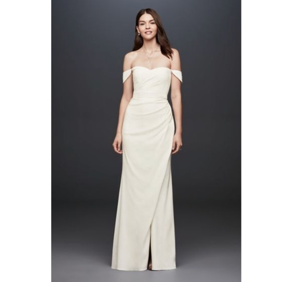 David's Bridal Dresses & Skirts - 👰🏻Draped Off-The-Shoulder Crepe Sheath Gown